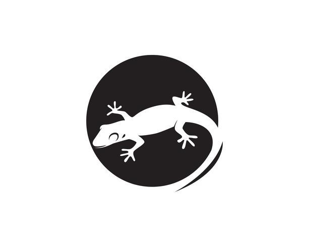 Vettore 10 del nero della siluetta del geco del camaleonte della lucertola