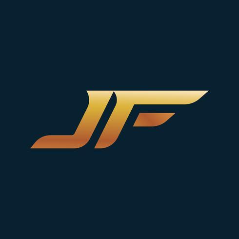lettera JF Logo. modello di velocità design concept vettore