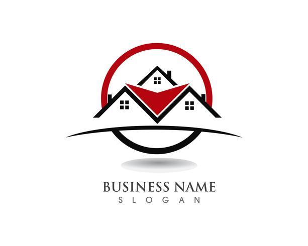 vettore del modello delle icone di logo e di simboli delle costruzioni domestiche