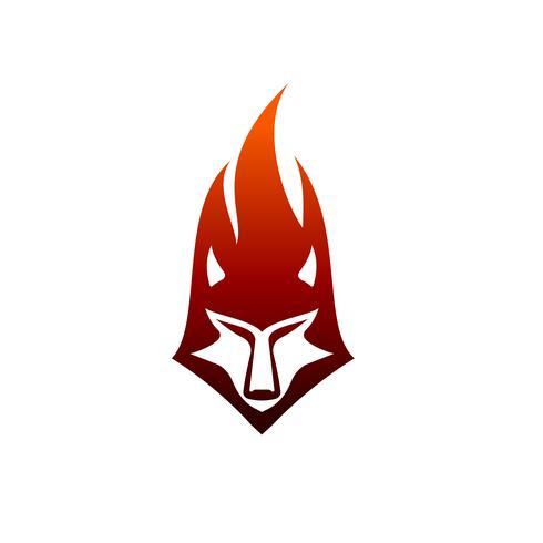 modello di concetto di disegno di logo di fiamma di lupo vettore