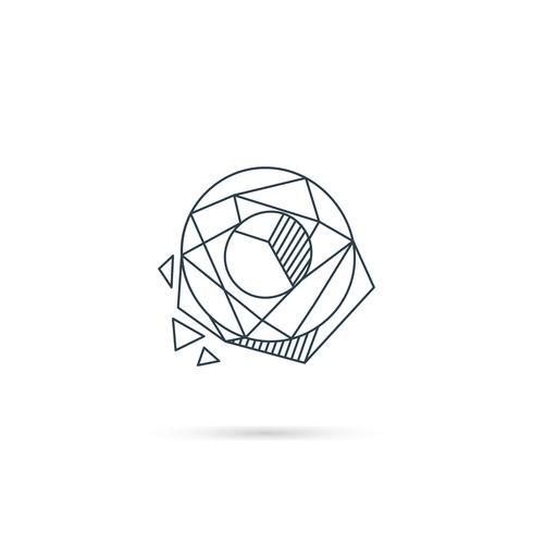 Elemento di vettore del modello dell'icona di progettazione di logo o della lettera della pietra preziosa isolato