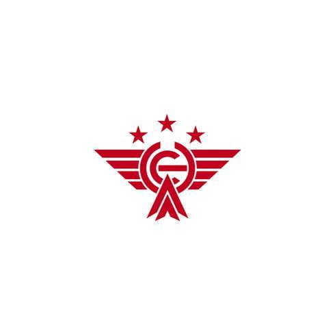 Iniitial CH che vola aquila l'illustrazione e l'ispirazione di vettore del modello di logo dell'uccello