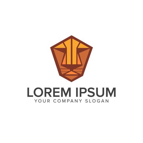 modello di concetto di design logo emblema faccia tigre o leone vettore