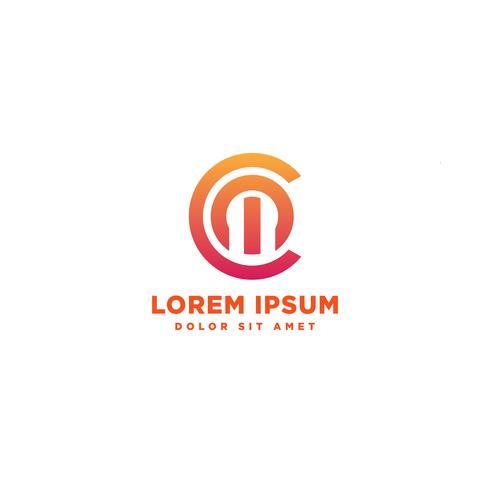 Elemento dell'icona dell'illustrazione di vettore del modello di logo dell'estratto della lettera CM