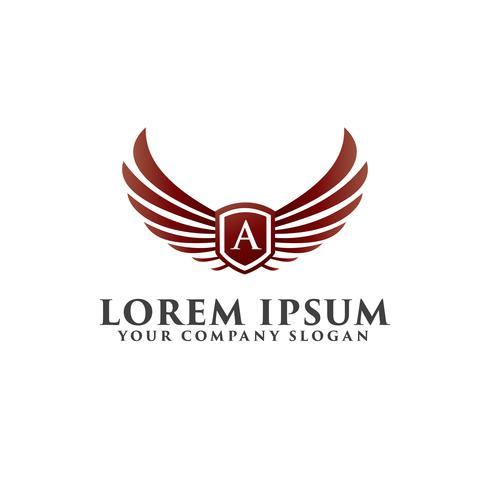Logo di lettere A Shield Wings. modello di design di lusso vettore
