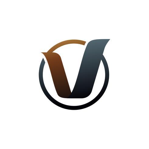 lettera v logo. modello di concetto di design logo oro vettore