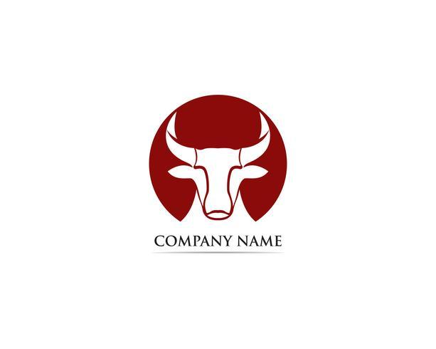 Modello di logo e simboli di corno di toro vettore