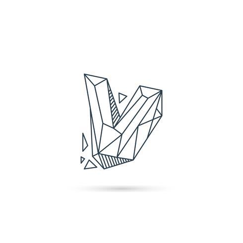 elemento di modello di disegno dell'icona di disegno di marchio di lettera v della pietra preziosa isolato vettore