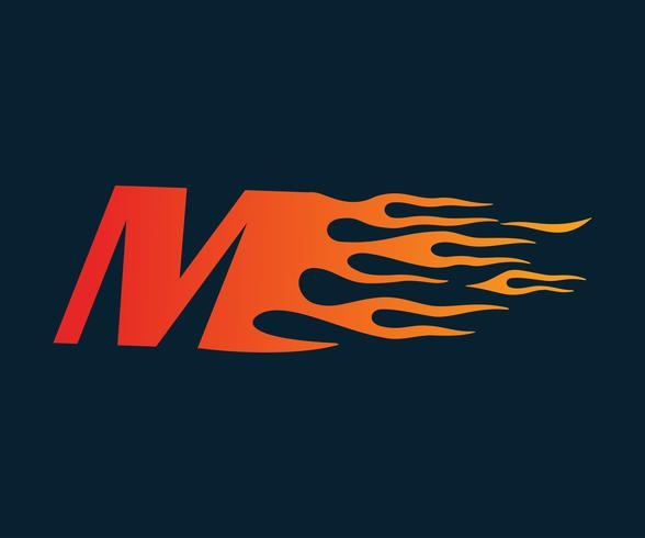 Logo della fiamma della lettera M. modello di concetto di velocità logo design vettore
