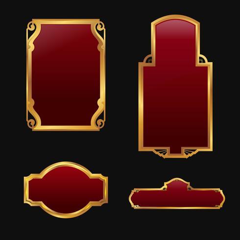 Etichette con set di raccolta di cornici dorate rosso decorativo 3D vettore