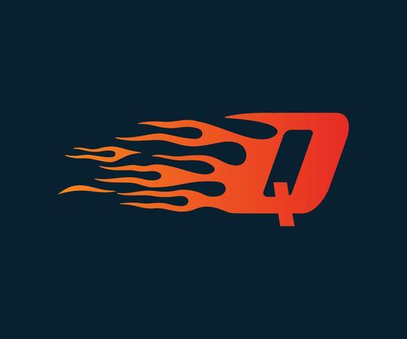 Logo della lettera Q fiamma. modello di concetto di velocità logo design vettore