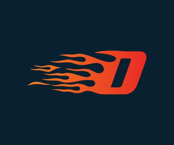 Logo della lettera D fiamma. modello di concetto di velocità logo design vettore