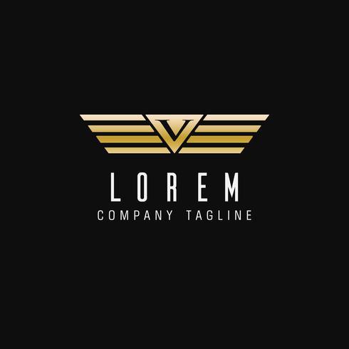 logo della lettera V delle ali. modello di design di lusso vettore