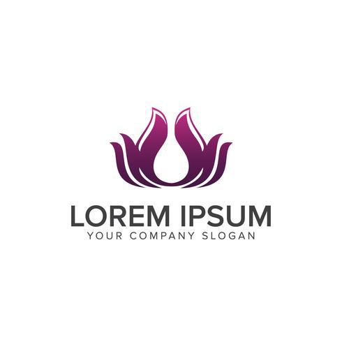 Fiore di loto Logo astratto Salone di bellezza Cosmetici Linea di marca vettore