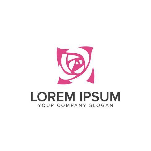 Simbolo rosa minimalista Modello di design logo unico per il fiore vettore