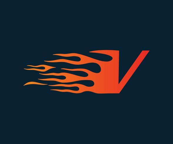 Logo della lettera V fiamma. modello di concetto di velocità logo design vettore