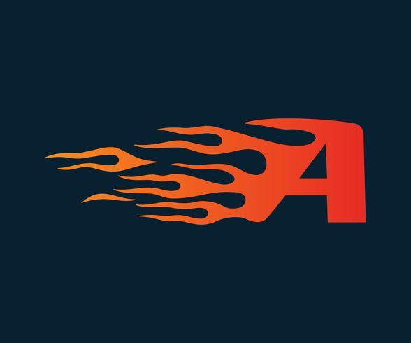 Lettera A Logo fiamma. modello di concetto di velocità logo design vettore