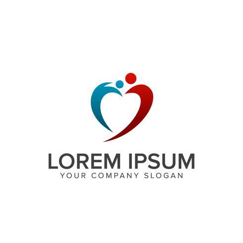 amo il logo della gente. modello di concetto di progettazione logo persone di cura vettore
