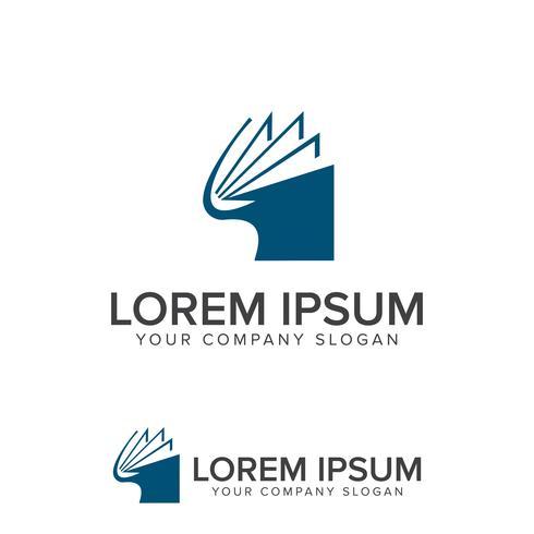 Libro logo Modello di concetto di disegno di scuola educazione vettore