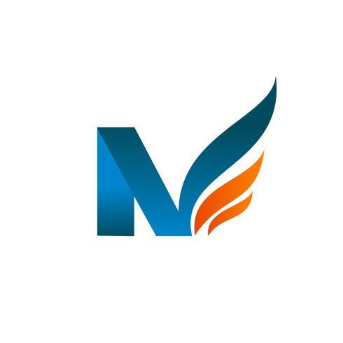 modello di concetto di disegno di logo di lettera n ali vettore