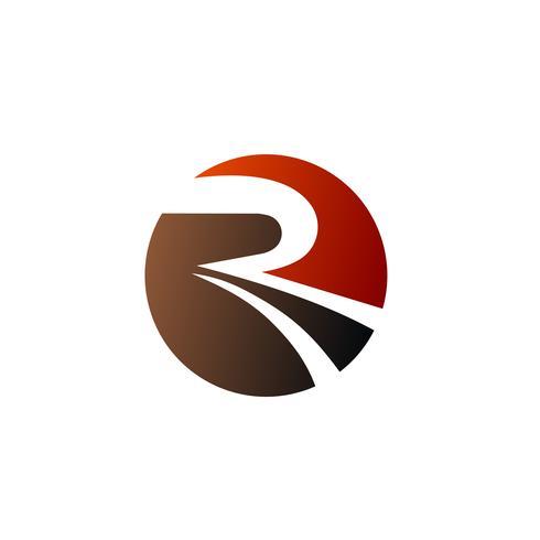 modello di concetto di disegno di lettera R cerchio logo vettore