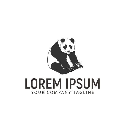 Panda siede modello di logo design concept vettore