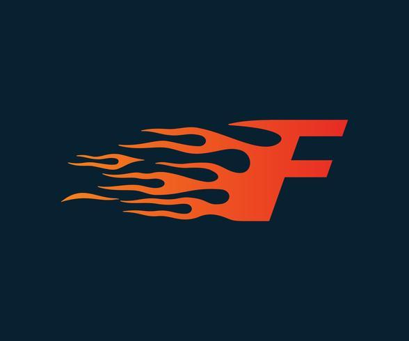 Logo della lettera F fiamma. modello di concetto di velocità logo design vettore