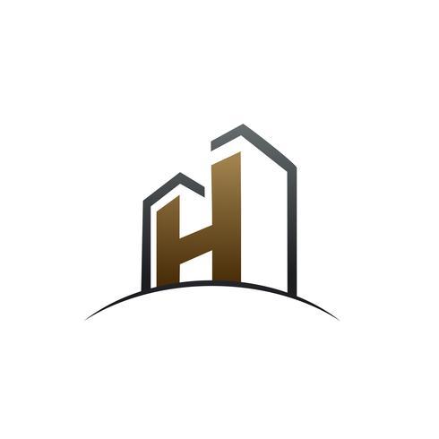 modello di concetto di disegno di marchio di costruzione lettera H vettore