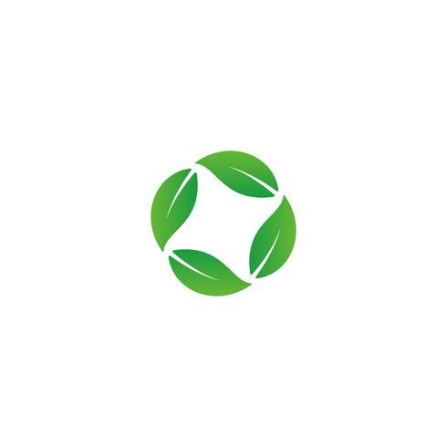 elemento dell'icona dell'illustrazione di vettore di progettazione di logo della foglia della natura