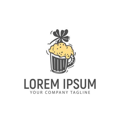 modello di concetto di design logo disegnato a mano retrò birra vettore