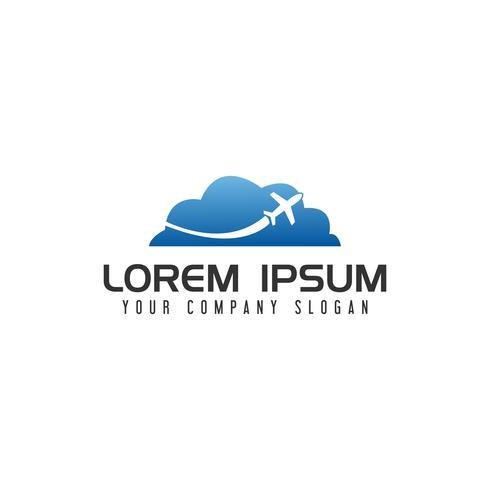 cloud travel Modello di logo design concept vettore
