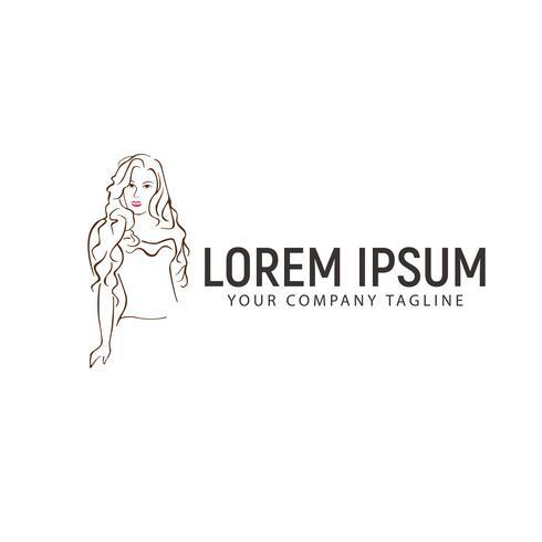 modello di concetto di progettazione logo disegnato a mano donna sexy vettore
