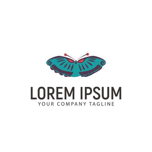 modello di concetto di disegno logo disegnato a mano farfalla vettore
