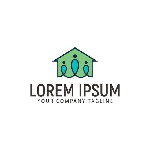 modello di concetto di design del logo di case famiglia vettore