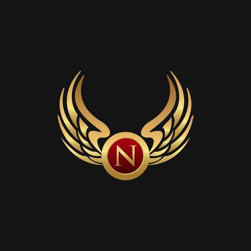 Modello di concetto di progettazione di logo di lusso lettera N emblema delle ali vettore