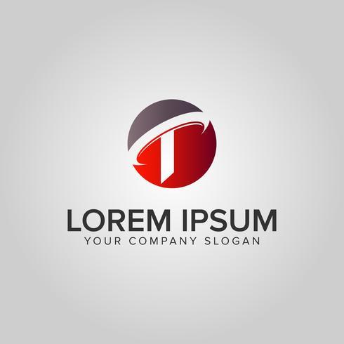 modello di concetto di disegno di lettera T cerchio logo design vettore
