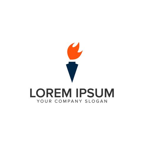 modello di concetto di torcia logo design vettore
