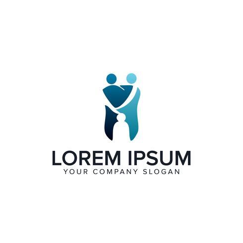 modello di concetto di progettazione logo persone dentale medico vettore