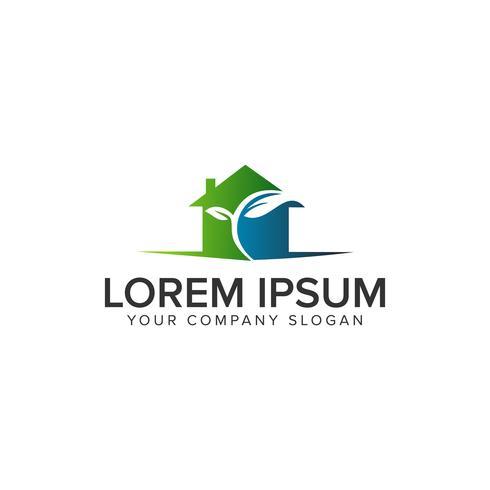 logo della casa verde. modello di concetto di design immobiliare vettore
