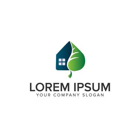 modello di concetto di progettazione di logo di casa verde vettore