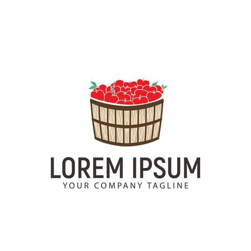 modello di concetto di design logo cesto di mele vettore