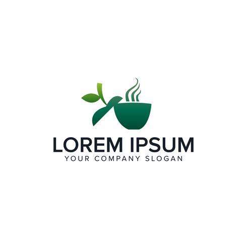 logo del caffè verde. modello di concetto di design logo bevanda verde vettore