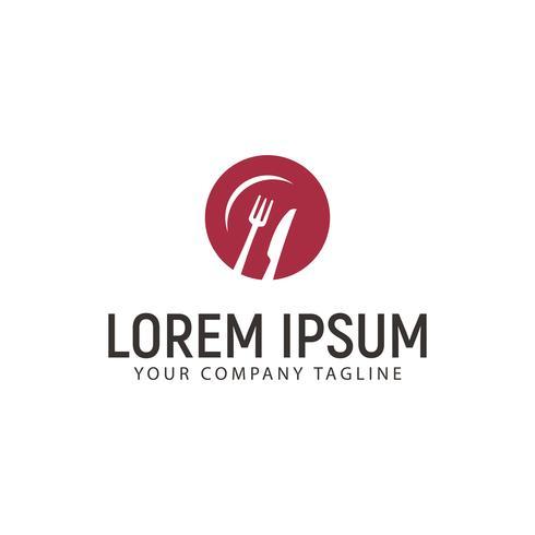modello di concetto di design logo piatto di piastra di coltello forchetta vettore
