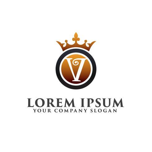 Lusso lettera V con corona Logo design concept template vettore