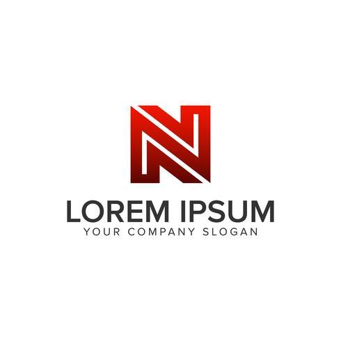 Modello di concetto di progettazione logo unico creativo lettera N. completamente edi vettore