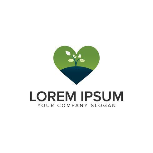 modello di concetto di progettazione di logo di natura vegetale di amore vettore