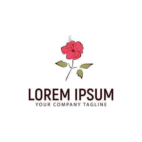 modello di concetto di disegno logo disegnato a mano fiore di ibisco vettore