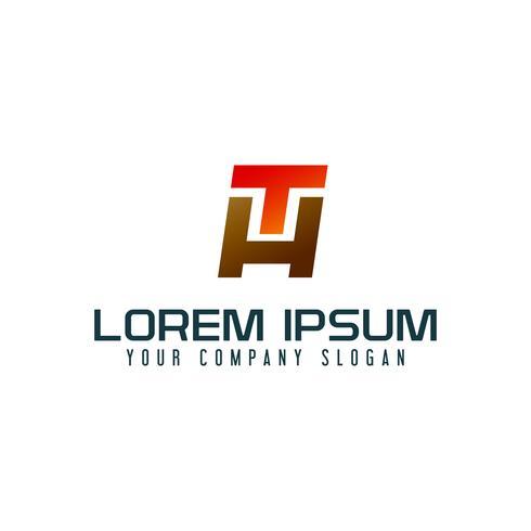Modello di concetto di disegno di logo di lettera H e T. vettore