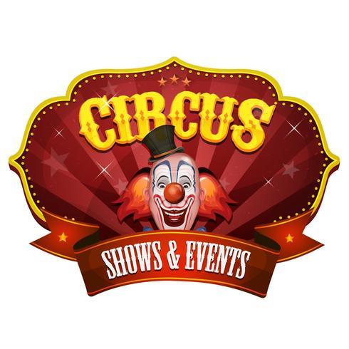 Banner di Carnevale Circo con testa di pagliaccio vettore