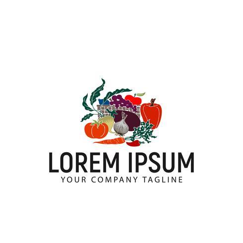 modello di concetto di progettazione di logo di verdure vettore